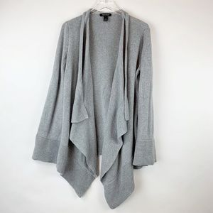 WHBM Long Gray Open Front Cardigan